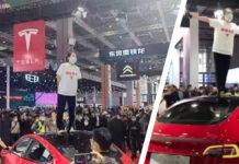 mujer Tesla protesta Shanghái