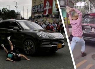 Porsche Cayenne manifestante Colombia